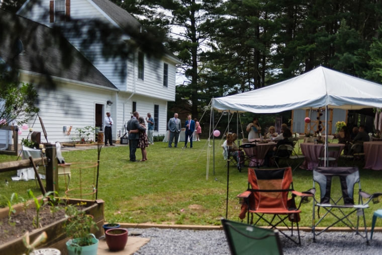 Family gathers at a small backyard wedding in Hagerstown, Maryland