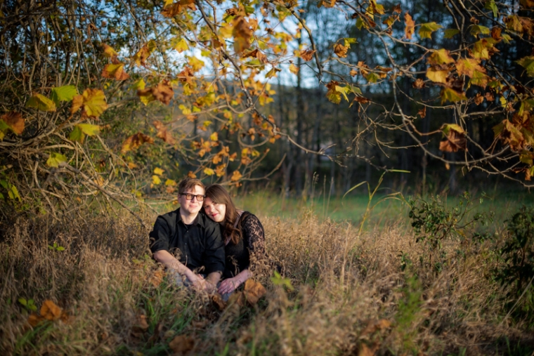 A couple sits under a golden tree during their fall engagement session in west virginia