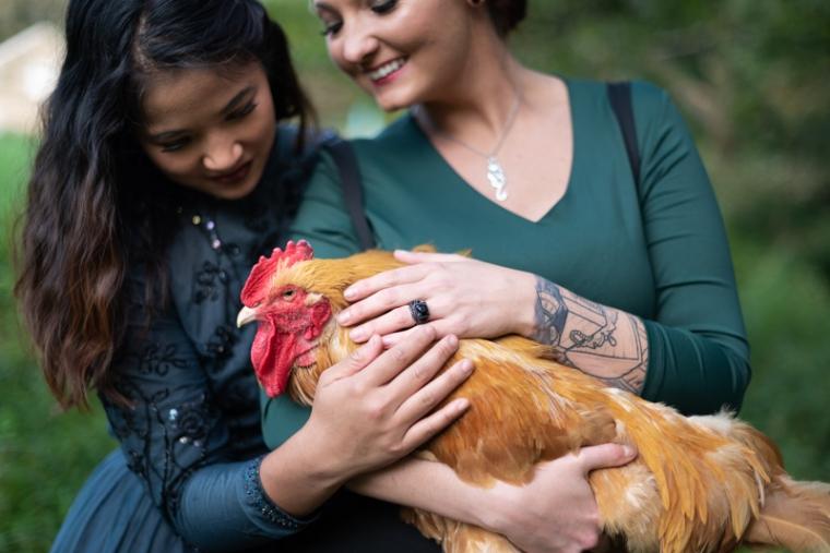 Two brides pet a chicken during their offbeat wedding at Ballenger Farm