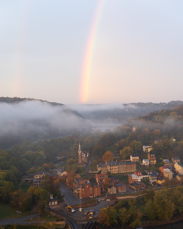 View of a rainbow over Harpers Ferry, West Virginia