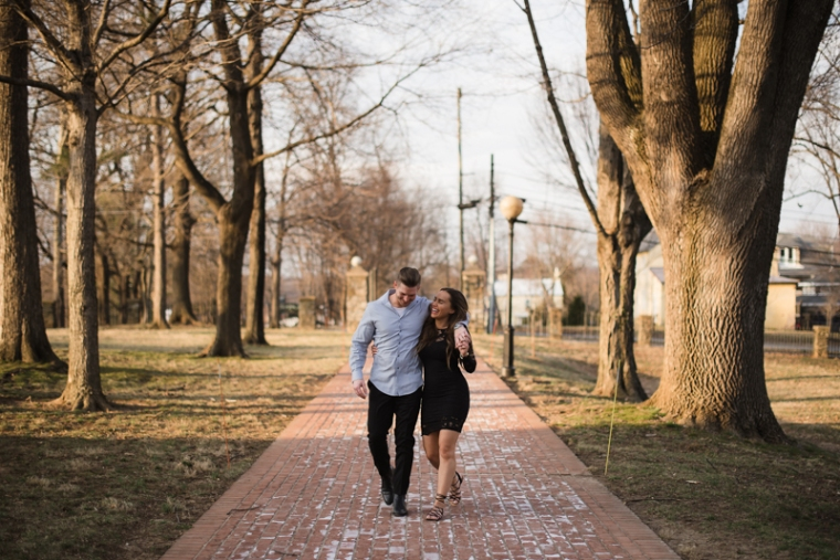 A couple walk together during sunset in Harpers Ferry